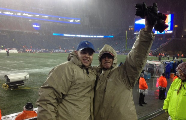 Unicorns? Show Ponies? Ha! Bob & Son Pat Find the REAL Fan Base at Monsoon-soaked Gillette during Bob's First-ever Pats Game.